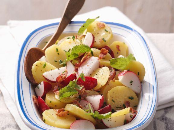 Kartoffelsalat mit Radieschen und Bacon