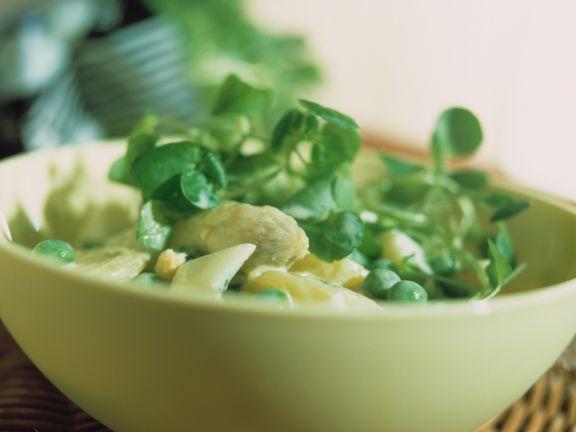 Kartoffelsalat mit Spargel und Brunnenkresse