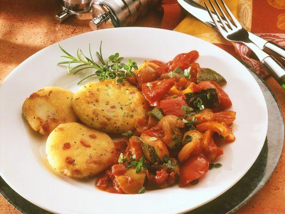 Kartoffeltaler mit Ratatouille