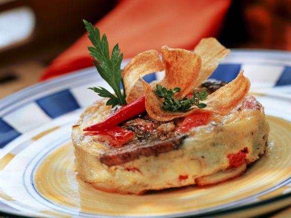 Kartoffeltortilla mit Tomaten und Champignons