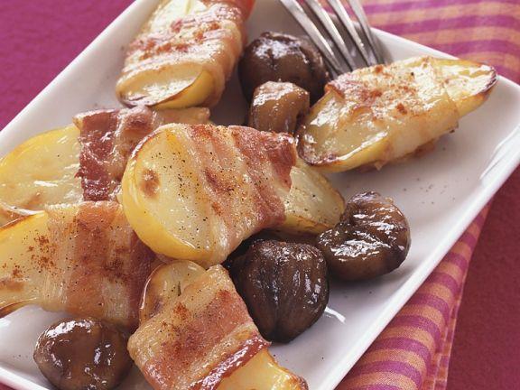 Kartofflen mit Speckmantel mit Esskastanien