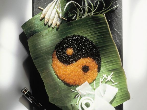 Kaviar dekorativ angerichtet