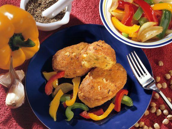 Kichererbsen-Puffer mit Gemüse