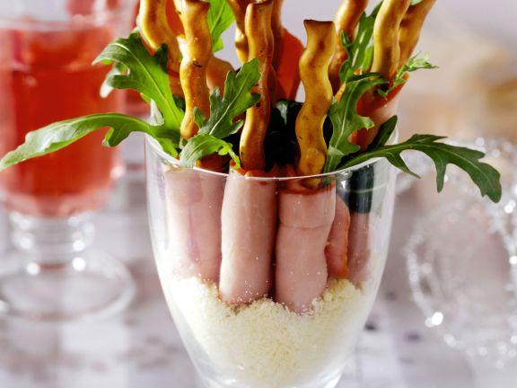 Knabber-Schinken mit Rucola und Parmesan