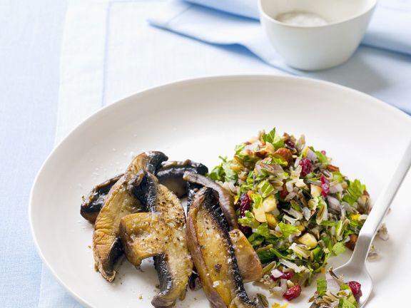 Knoblauchpilze mit Reissalat
