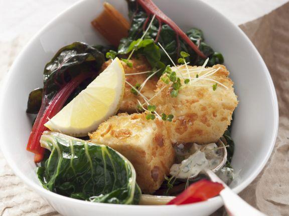 Knusper-Tofu mit Mangold