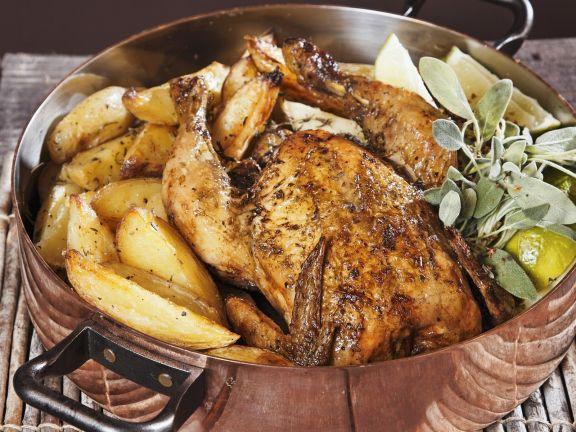 Knuspriges Hähnchen mit Kartoffeln nach griechischer Art