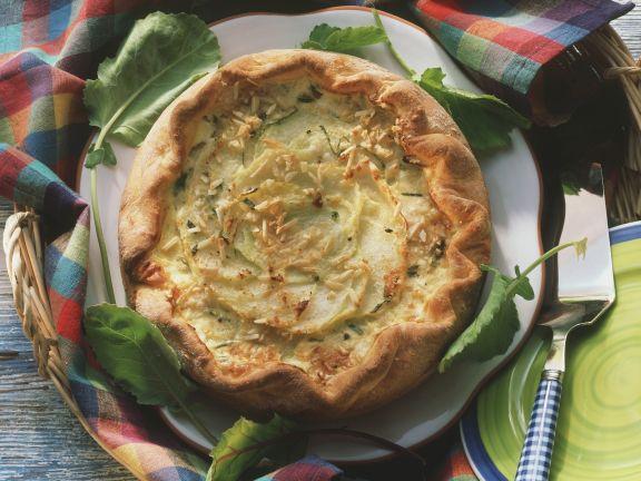 Kohlrabiquiche mit Mandeln und Parmesan