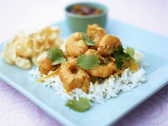 Kokos-Curry-Scampi mit Reis