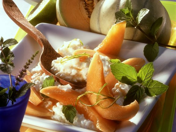 Kokosmilchreis mit Melone