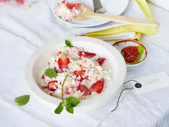 Kokosmilchreis mit Wasabi-Erdbeeren
