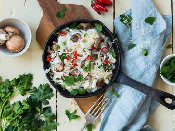 Konjak-Nudeln mit Mascarpone-Pilz-Sauce