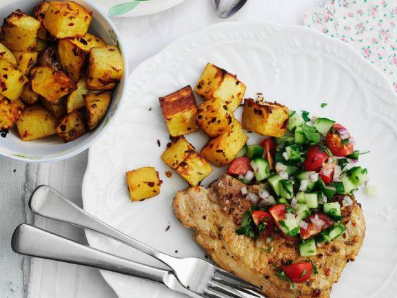 Koteletts mit Kartoffeln und Salsa