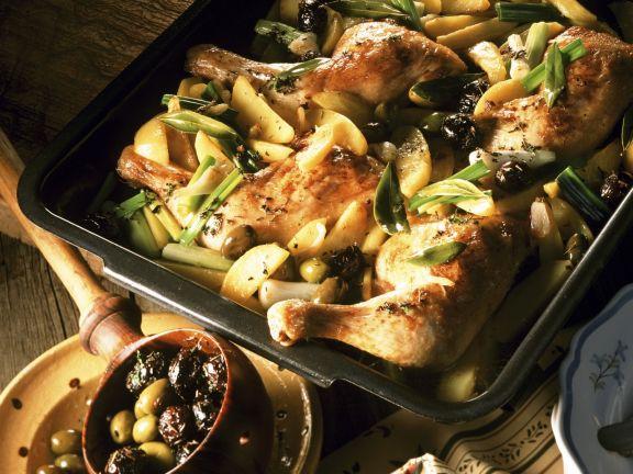 Kräuter-Hähnchen mit Oliven und Lauchzwiebeln