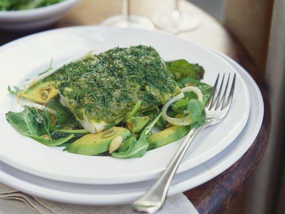Kräuter-Kabeljau mit Salat