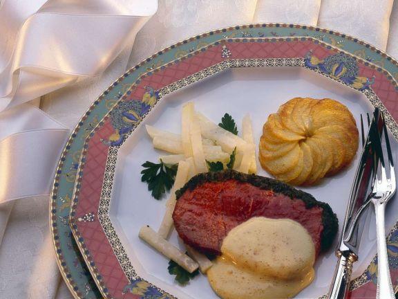 Kräuter-Roastbeef mit Beilagen