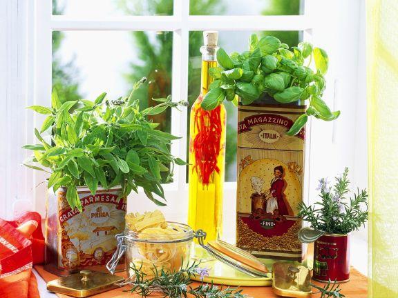 Kräuter-Tagliatelle mit Chiliöl