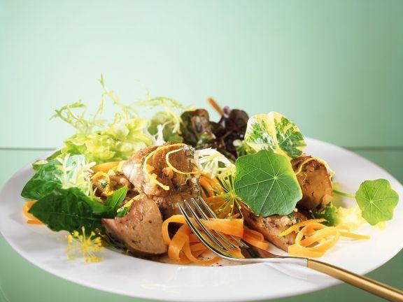 Kräutersalat mit Geflügelleber