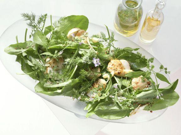 Kräutersalat mit Muscheln