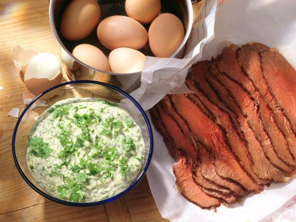 Kräutersauce mit Roastbeef