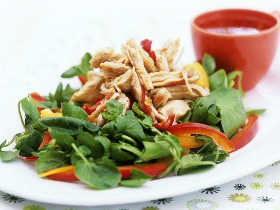 Kresse-Spinatsalat mit Hähnchen
