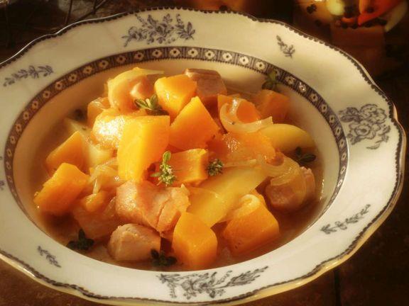Kürbis-Kartoffeleintopf mit Kasseler