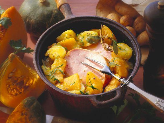 Kürbis-Kartoffeleintopf mit Kassler