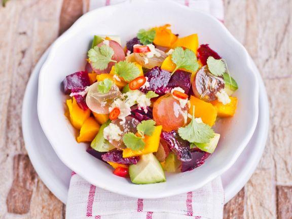 Kürbis-Rote-Bete-Salat mit Koriander