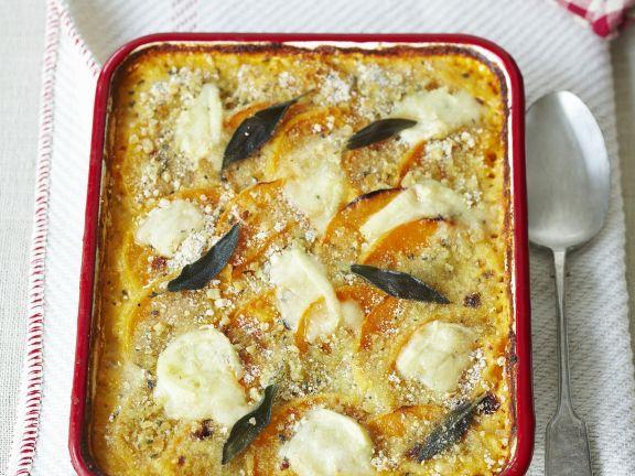 Kürbisgratin mit Mozzarella