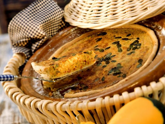 Kürbiskuchen mit Speck