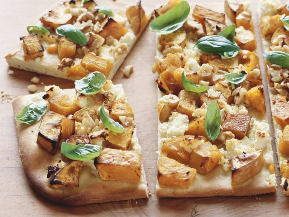 Kürbispizza mit Feta
