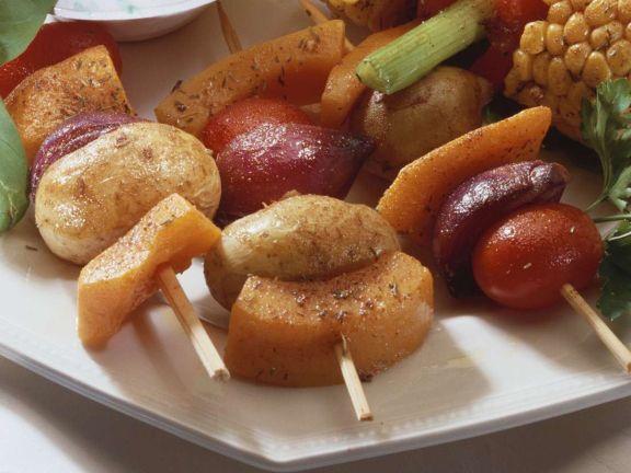 Kürbisspieße mit Kartoffeln