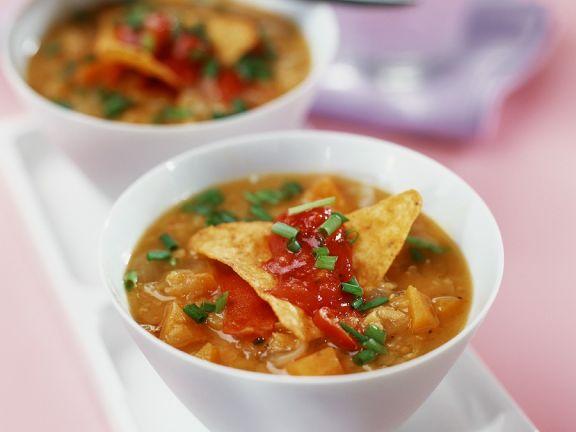 Kürbissuppe mit Reis