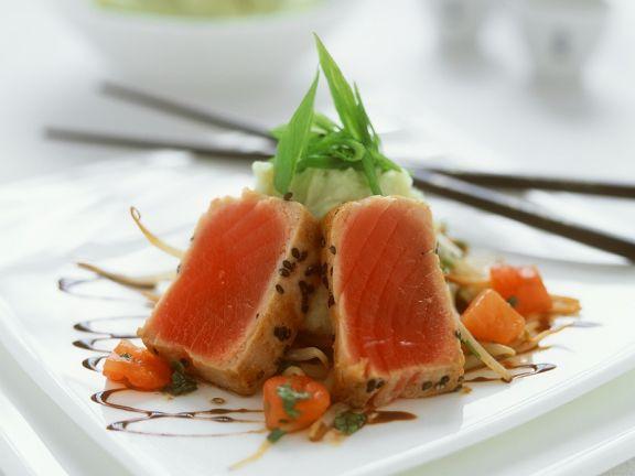 Kurzgebratener Thunfisch mit Kartoffelpüree