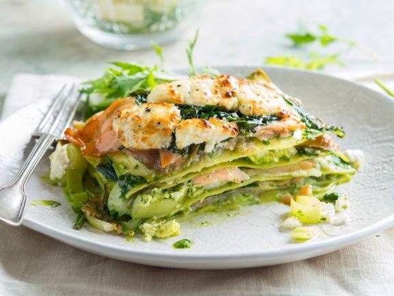 Lachs-Lasagne mit Spinat und Ziegenkäse