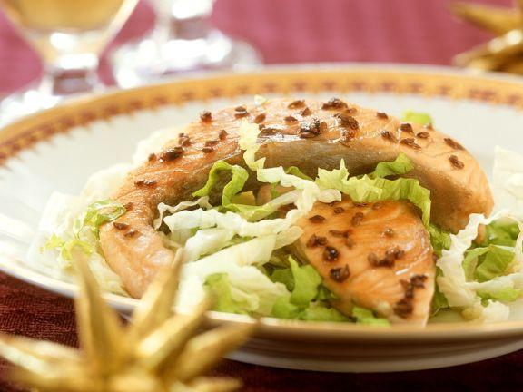 Lachs mit Kopfsalat