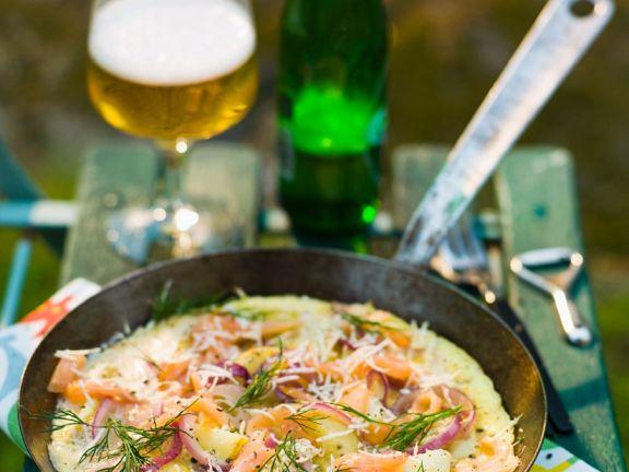 Lachs-Omelette mit Kartoffeln