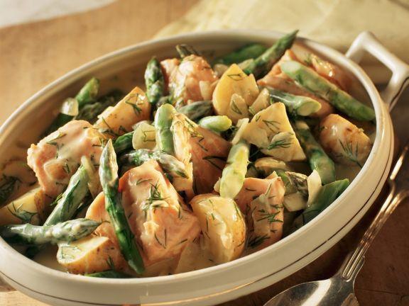 Lachs-Spargel-Topf mit Kartoffeln und Dillcreme