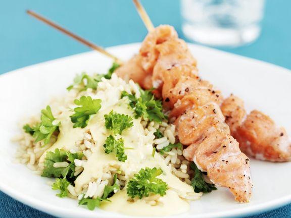 Lachs-Spieße vom Grill mit Reis