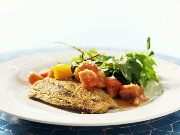 Lachsfilet mit Senfpanade und Tomatensalat