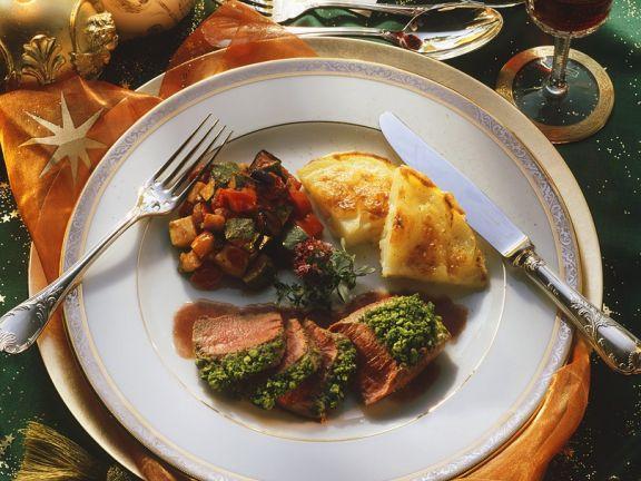 Lamm mit Gemüse und Gratin