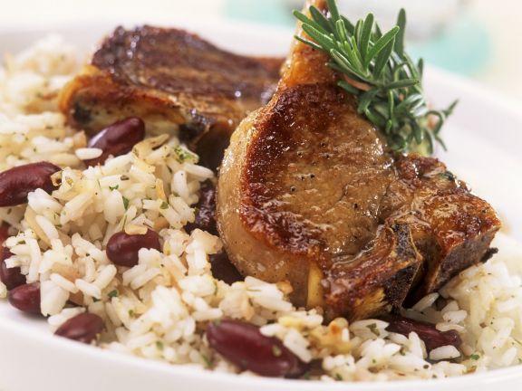 Lammchops mit Bohnen-Reis