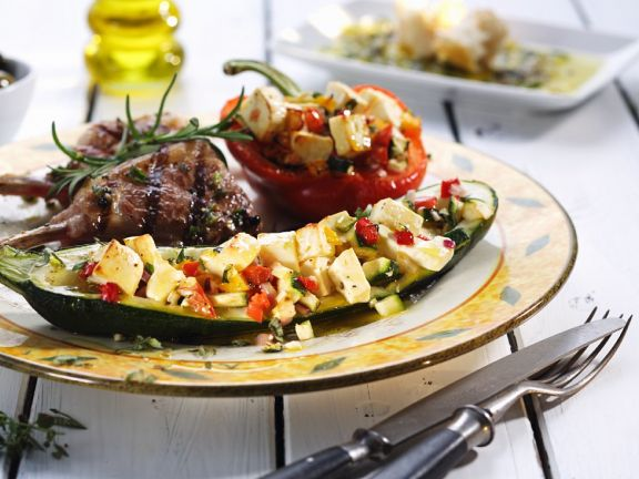 Lammkotelette und gefüllte Gemüse