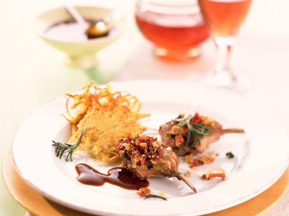 Lammkoteletts mit Rosmarinkruste und Kartoffelplätzchen