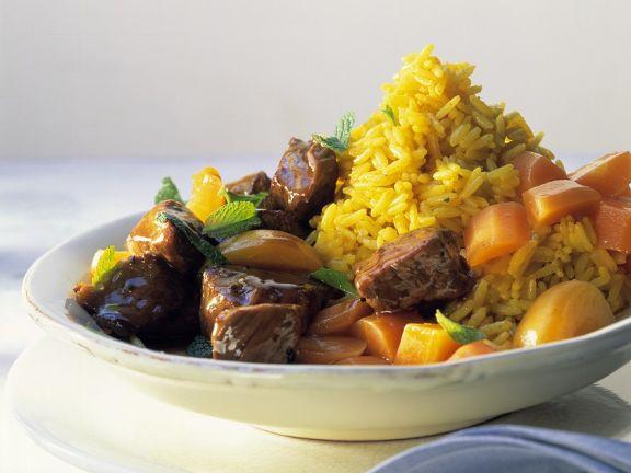 Lammragout mit Reis