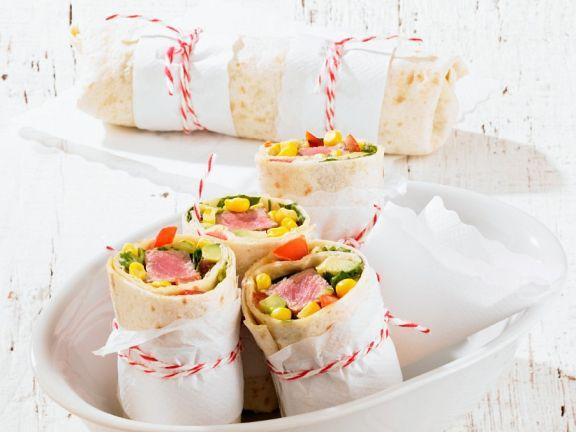 Lammwraps mit Mais und Avocado