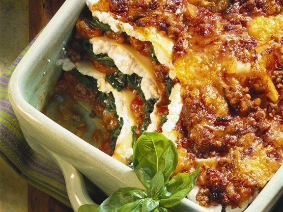Lasagne mit Ricotta und Spinat