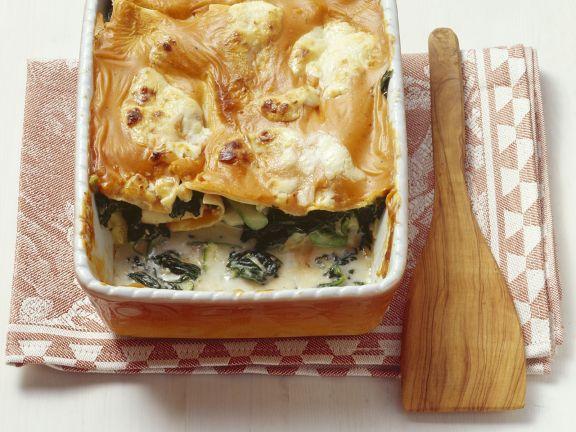 Lasagne mit Rucola und Gemüse