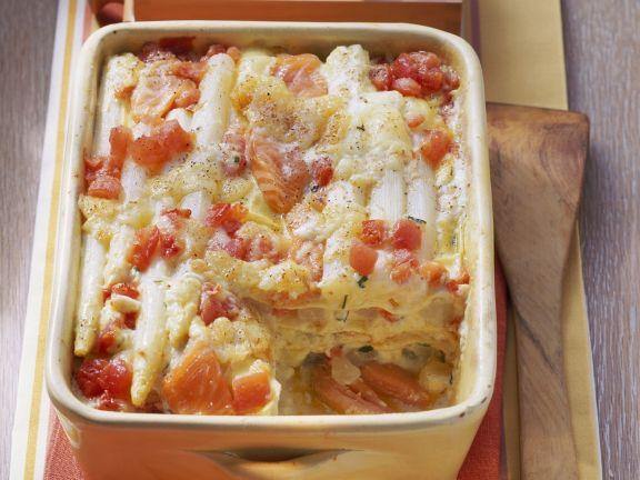 Lasagne Mit Spargel Lachs Und Tomaten Rezept Eat Smarter