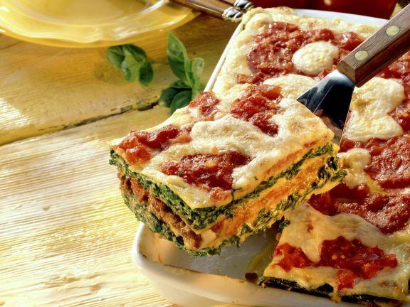 Lasagne mit Spinat-Hackfleisch-Füllung